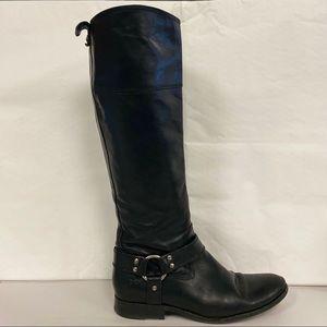 FRYE Melissa Tall Inside Zip Harness Boot 8.5 Blk